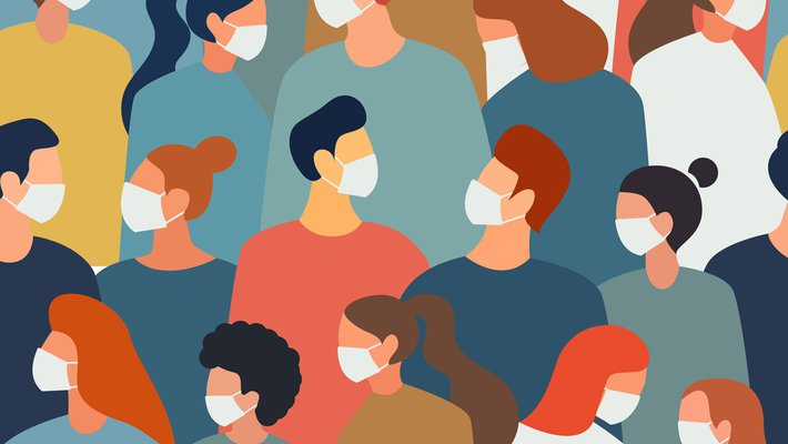 Illustration of a group of people wearing face masks