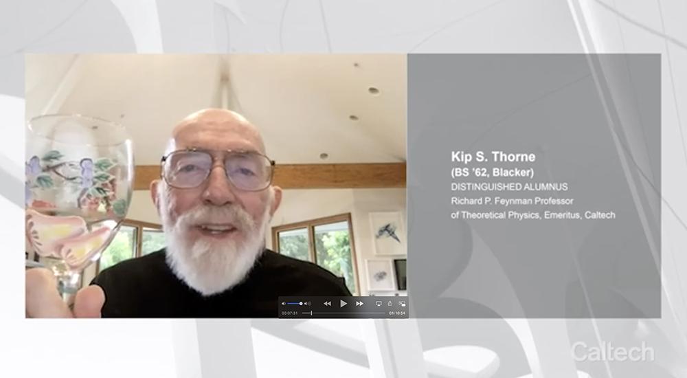 Kip Thorne raises a glass and smiles