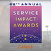 Logo of the 66th annual Service Impact Awards with campus building as background