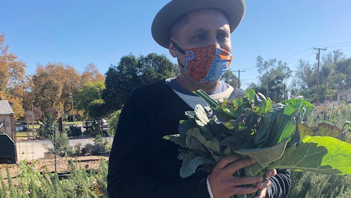 Man standing in a garden, holding leafy greens, wearing a face mask