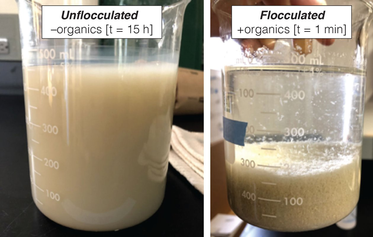 Left: a beaker containing a cloudy, muddy solution. Right: a beaker containing a layer of mud at the bottom with clear water above.