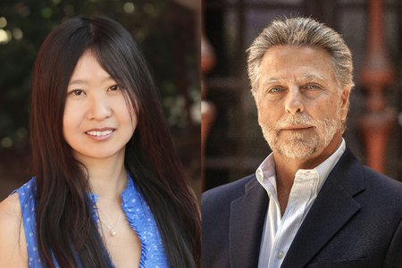 A side-by-side portrait of Doris Tsao and John Brady