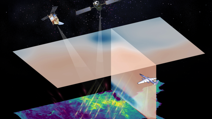 Artwork of satellites and aircraft monitoring land carbon fluxes.