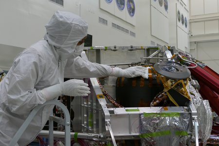 man in JPL clean room