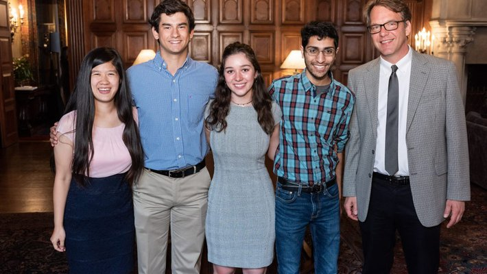 Scholarship brunch panelists with moderator Kevin Gilmartin