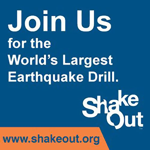 Text on blue background asking people to join the ShakeOut Drill