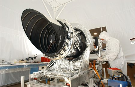 space camera under construction in a clean room