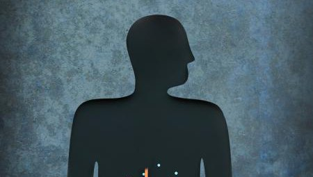 A silhouette of the human body's immune system