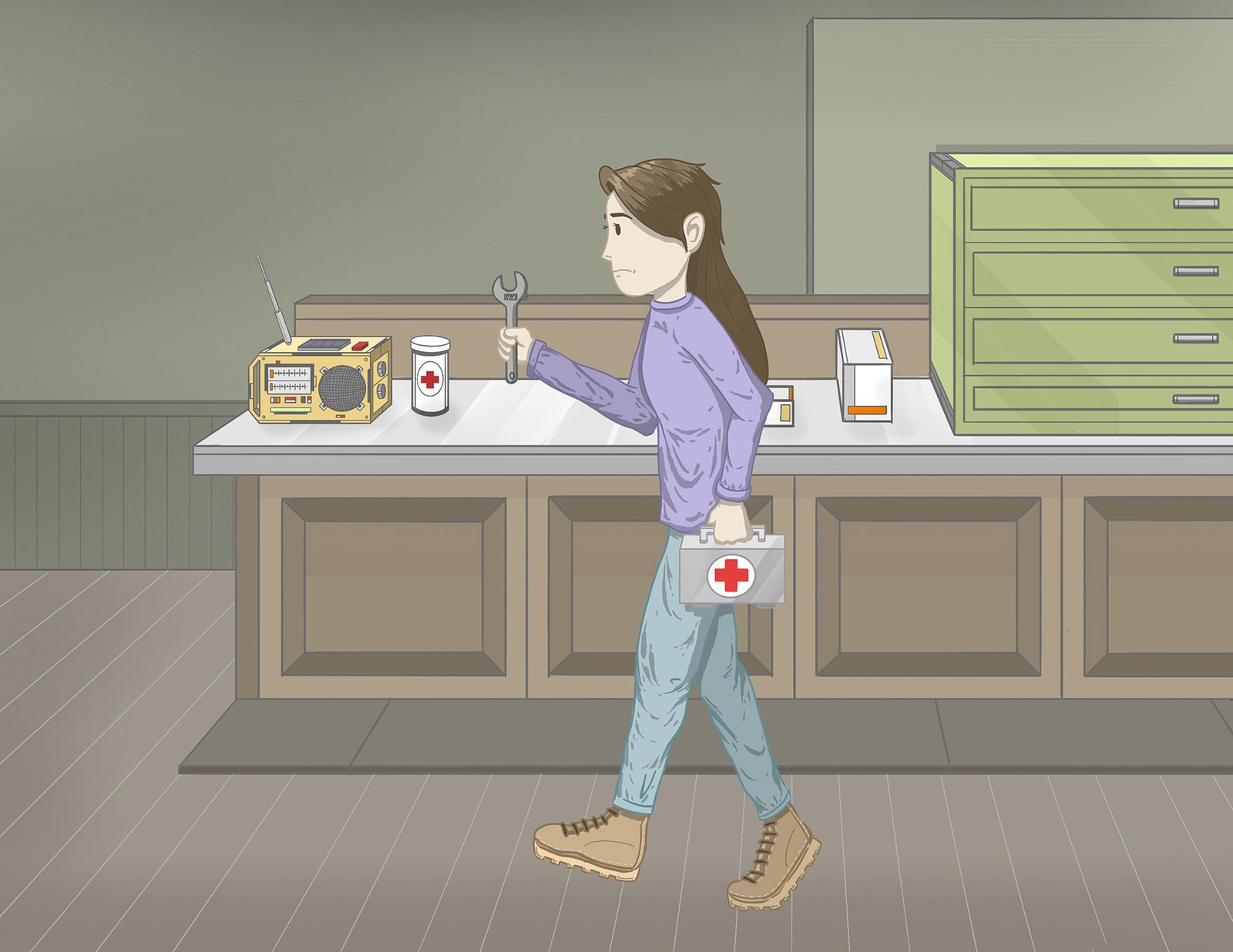 A person shown gathering tools and a first aid kit as they prepare to go and check for damage and injuries as they listen to an emergency broadcast on the radio.