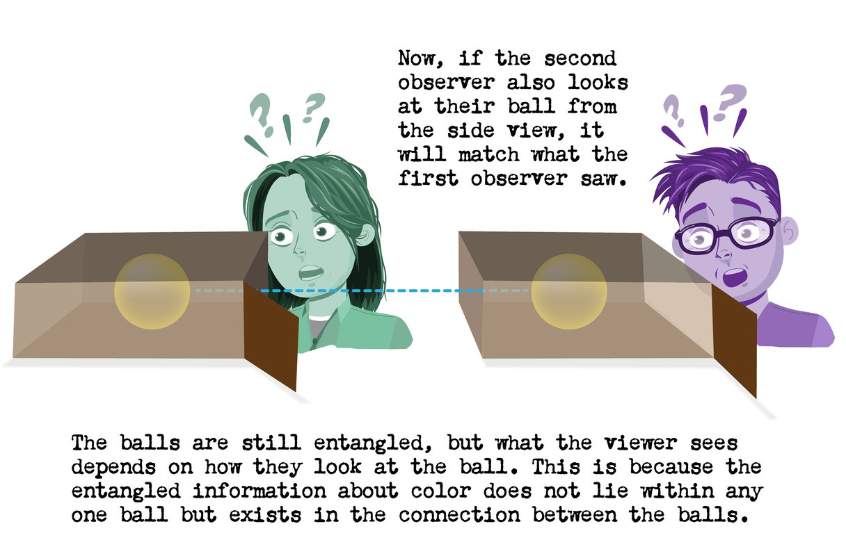 Now, if the second observer also looks at their ball from the side view, it will match what the first observer saw. The ball sare still entangled, but what the viewer sees depends on how they look at the ball. This is because the entangled information about color does not lie within any one ball but exists in the connection between the balls.