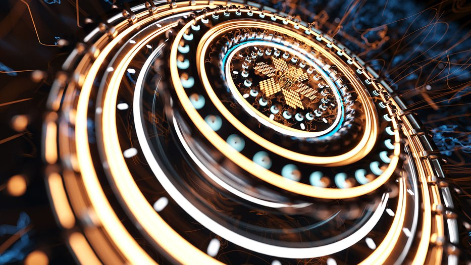 Close up photo of a quantum computer processor
