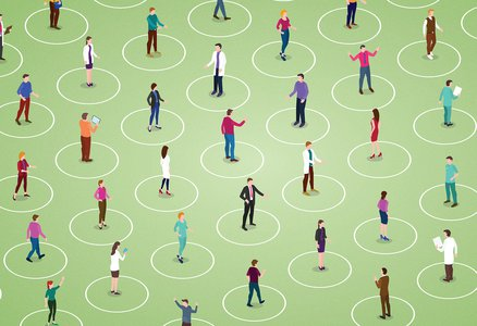Illustration of people in circles physically distancing from each other