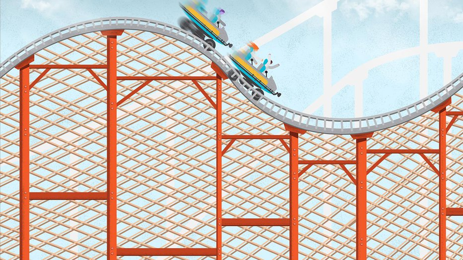 Illustration of people riding on a roller coaster with a motion blur.