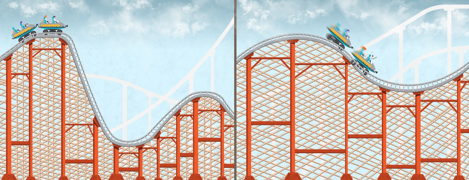 Side by side illustration of a roller coaster. On the left a coaster sits at the top about to go down a drop. On the right, the coaster speeds down a drop.