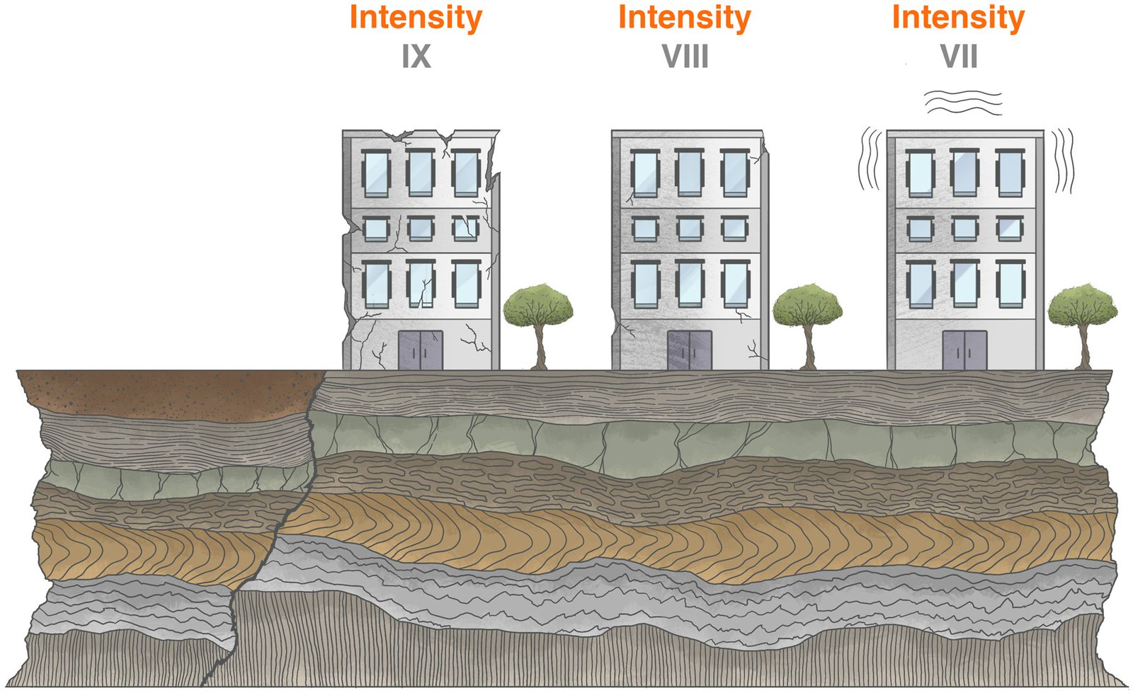 Schematic showing the intensity of an earthquake. Examples of intensity IX, VIII, and VII are provided.