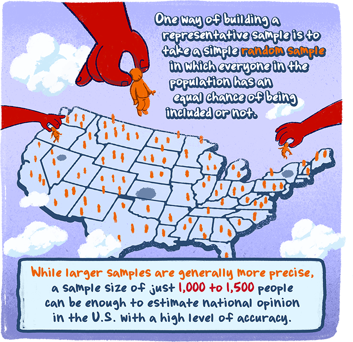 One way of building a representative sample is to take a simple random sample in which everyone in the population has an equal chance of being included or not. While larger samples are generally more precise, a sample size of just 1,000 to 1,500 people can be enough to estimate national opinion in the U.S. with a high level of accuracy.