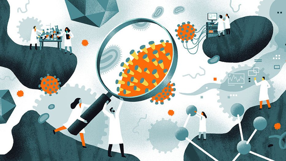 illustration of scientists working with the coronavirus