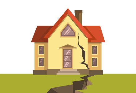 A house during an earthquake