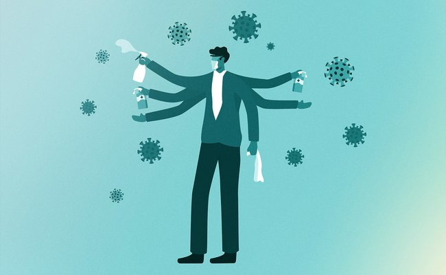 llustration of man wearing mask and goggles with a spray bottle in hand, misting oversized illustrated coronaviruses