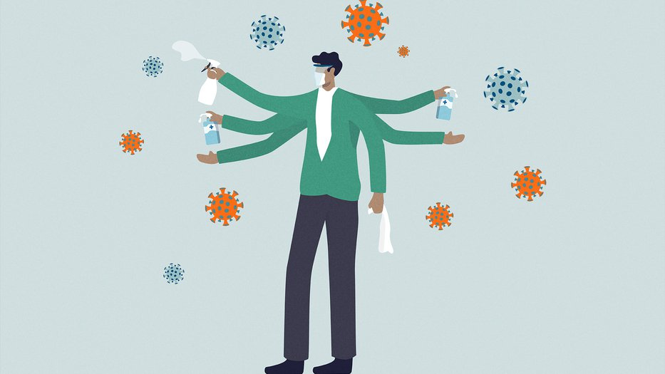 Illustration of man wearing mask and goggles with a spray bottle in hand, misting oversized illustrated coronaviruses
