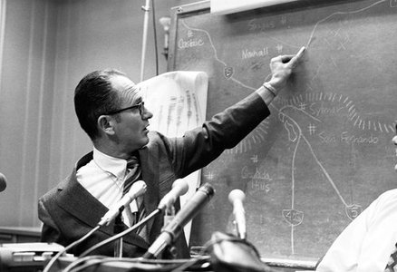 Clarence Allen answers questions about the San Fernando Earthquake during a press conference at the Seismological Laboratory on February 10, 1971.