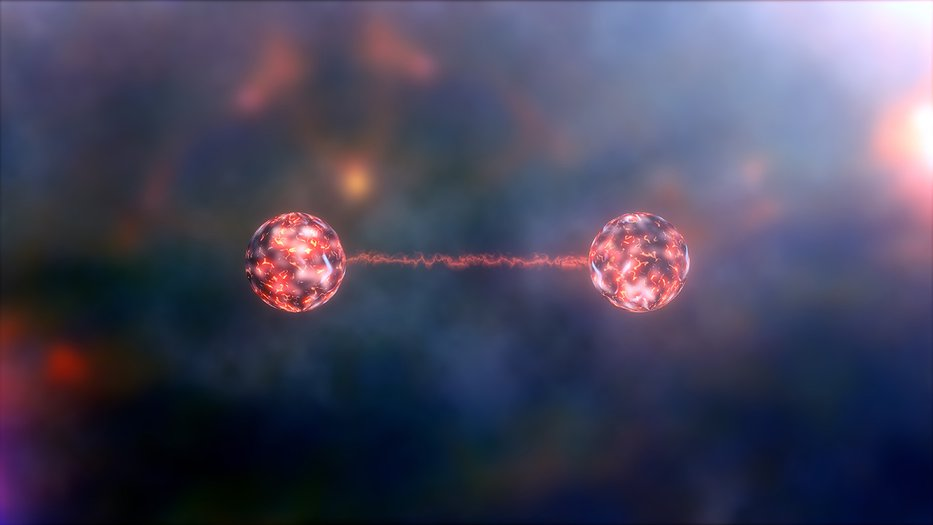 Artist concept of two entangled objects. Two glowing orbs are attached by a string of light.