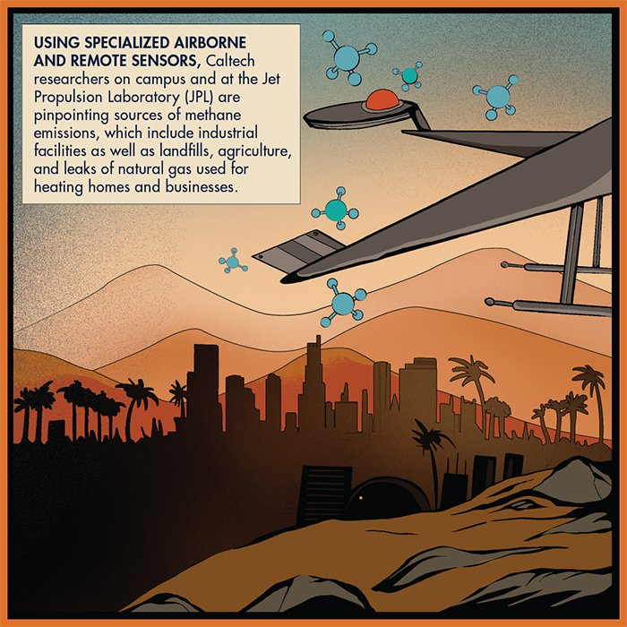 Using specialized airborne and remote sensors, Caltech researchers on campus and at the Jet Propulsion Laboratory (JPL) are pinpointing sources of methane emissions.