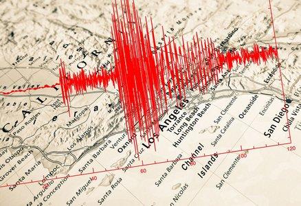 Earthquake measurement over a map of Los Angeles