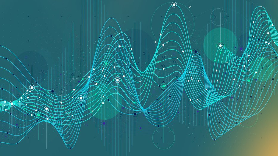 Blue and green abstract image of data analytics