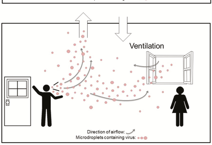 Diagram of how microdroplets from a person travel through a room ventilated with an open window