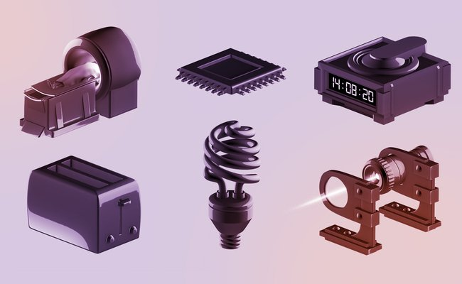 Illustration of an MRI machine, semi-conductor, clock, toaster, light bulb, and laser black on tinted purple and orange background