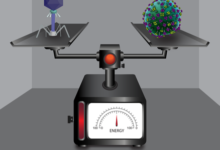 Illustration virus on a scale