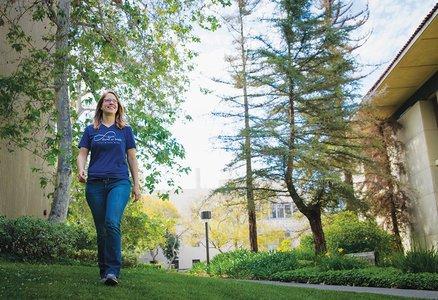 Kimberly See walks through Caltech's campus