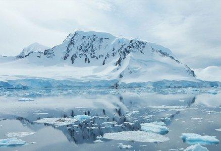 A glacier reflected in a lake