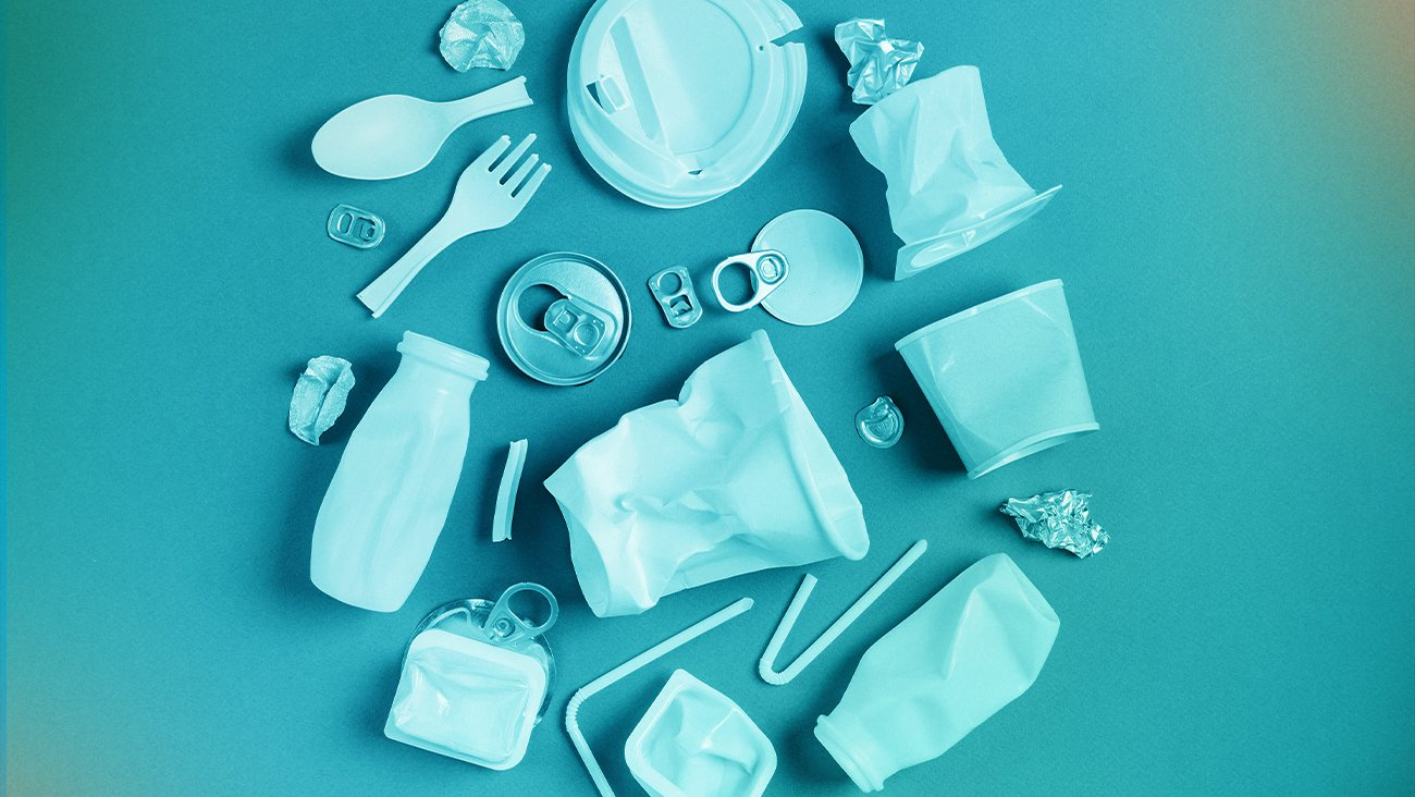 Plastics laid out to make the earth