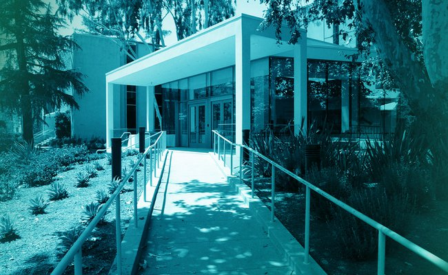 Filtered photograph of the front of a building on Caltech's campus