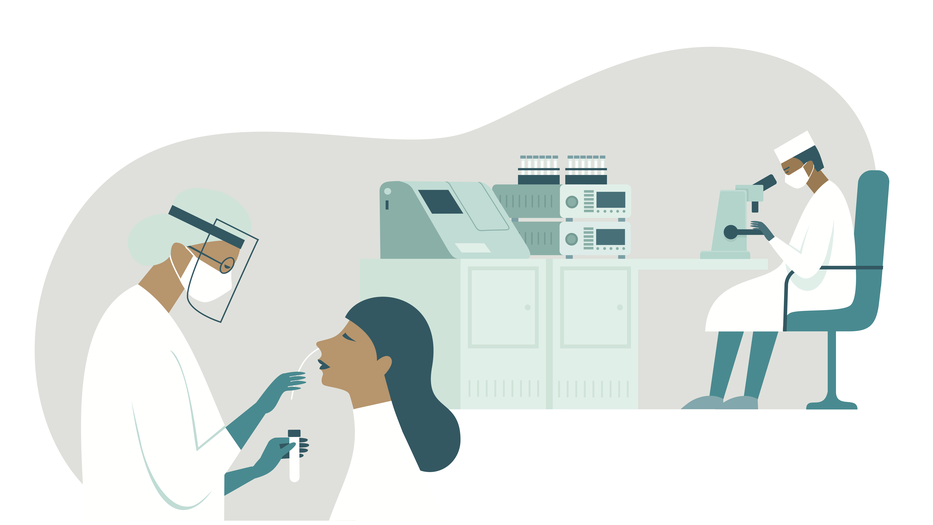 illustration of scientist in a lab sitting in front of a microscope