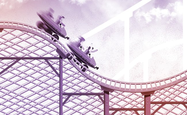 Illustration of people riding on a roller coaster with a motion blur, tinted purple and orange background