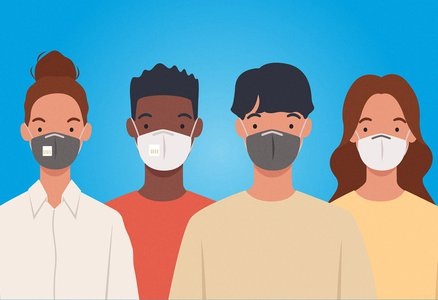 Four people line up with masks