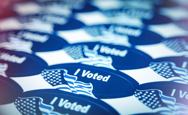 Voting stickers piled
