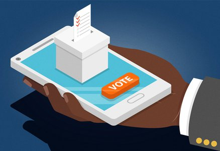 A hand voting using his phone