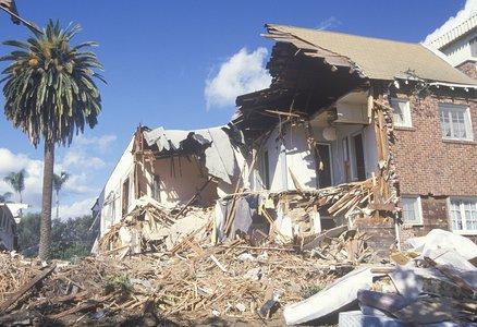 An apartment in Santa Monica devastated by the 1994 Northridge earthquake