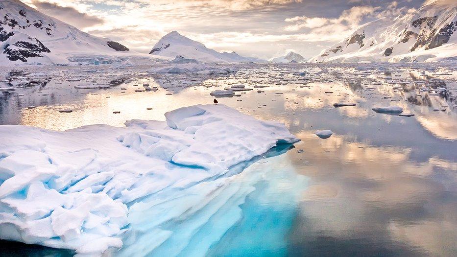 A glacier at sunset