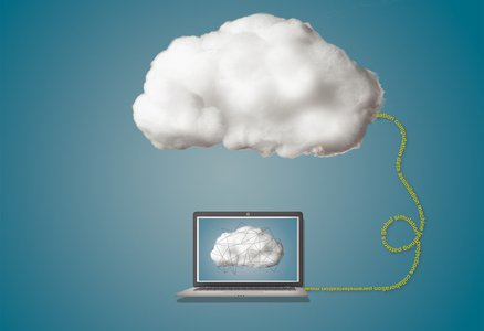 computer going into the cloud