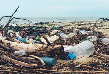 Plastics littered on the beach