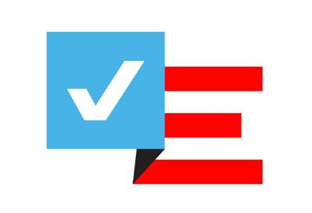 Electionland graphic logo, red white and blue