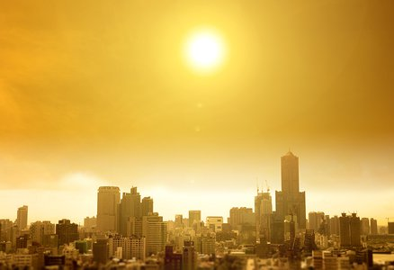 Summer heat wave in the city
