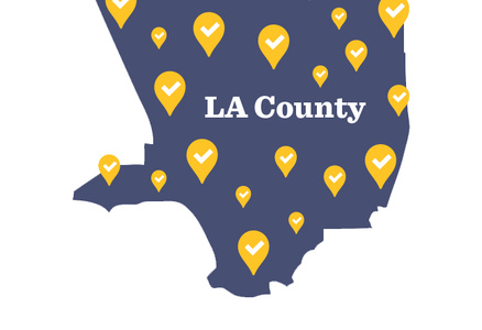 Map outline of LA county with yellow bubbles to denote polling locations