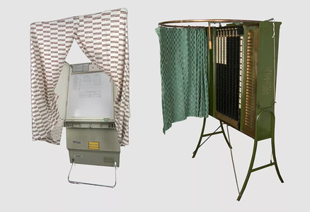 The Shouptronic electronic voting machine (left) debuted in the 1980s, and mimicked the Standard gear-and-lever voting machine of the early 1900s.