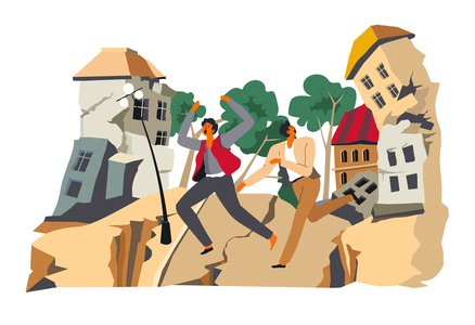 People run from an earthquake in a city.